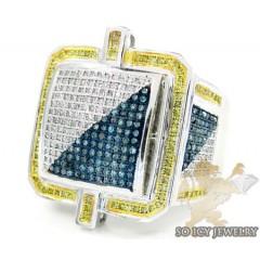 Mens 14k White Gold Tri Color Diamond Fashion Ring 0.80ct