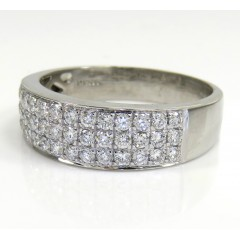 Mens 14k White Gold Round...