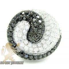 Ladies 14k White Gold Black & White Diamond Swirl Ring 5.97ct