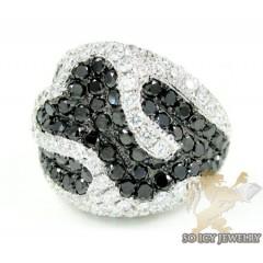 Ladies 14k White Gold Black & White Diamond Cocktail Ring 4.41ct