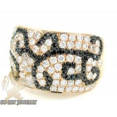 Ladies 14k Rose Gold Black & White Diamond Cocktail Ring 1.42ct