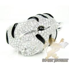 Ladies 14k White Gold Black & White Diamond Panther Ring 5.33ct