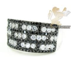 Ladies 14k White Gold Black & White Diamond Cocktail Ring 1.28ct
