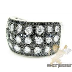 Ladies 14k White Gold Black & White Diamond Cocktail Ring 1.95ct