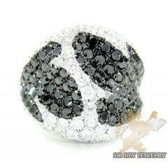 Ladies 14k White Gold Black & White Diamond Cocktail Ring 4.62ct