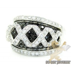 Ladies 14k White Gold Black & White Diamond Cocktail Ring 1.66ct