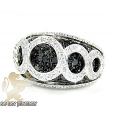 Ladies 14k White Gold Black & White Diamond Cocktail Ring 2.33ct