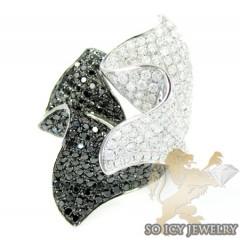 Ladies 14k White Gold Black & White Diamond Cocktail Ring 4.02ct