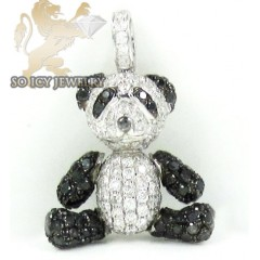 14k White Gold Black & White Diamond Teddy Panda Bear Pendant 2.50ct