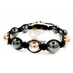Rose & Black Sterling Silver Macramé Smooth Bead Rope Bracelet