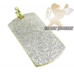 10k Yellow Gold Round Diamond Dog Tag Pendant 3.30ct