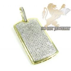 10k Yellow Gold Round Diamond Dog Tag Pendant 2.40ct