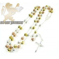 Tri Color Sterling Silver Rosary Chain Necklace 26 Inches 5.8mm