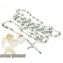 Sterling Silver Rosary Chain Necklace 26 Inches 4.8mm