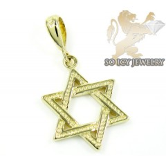 14k Yellow Gold Jewish Star Of David Pendant