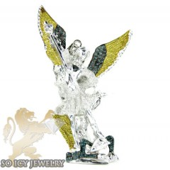 Sterling Silver Canary & Blue Diamond Angel Pendant 5.25ct