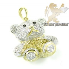 Ladies 10k Yellow Gold Diamond Teddy Bear Pendant 0.65ct