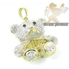 Ladies 10k Yellow Gold Diamond Teddy Bear Pendant 0.65ct