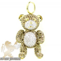 Ladies 14k Yellow Gold Champagne Diamond Teddy Bear Pendant 3.19ct