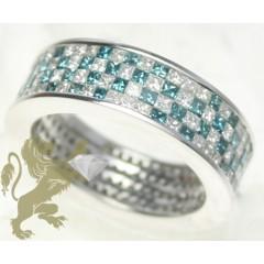 3.25ct Unisex 14k Solid White Gold blue & White Diamond Band