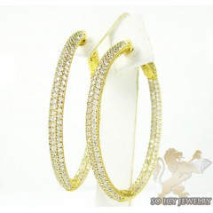 .925 Yellow Sterling Silver Round Cz Hoops 3.00ct