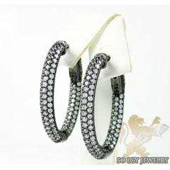 .925 Black Sterling Silver Round Cz Hoops 2.50ct