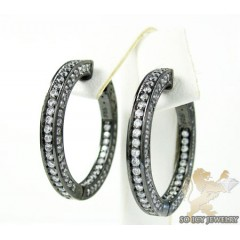 .925 black sterling silver round cz hoops 2.00ct