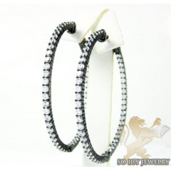 .925 Black Sterling Silver Round Black Cz Hoops 3.50ct