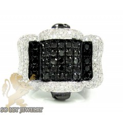 Mens 10k Black Gold Black & White Diamond Fashion Ring 2.77ct