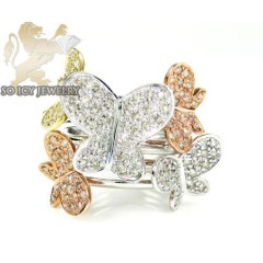 Ladies 10k Three Tone Gold Diamond Butterfly Ring 0.80ct