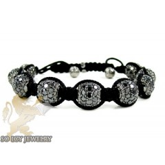 10k Black Gold Black & White Diamond Macramé Smooth Bead Rope Bracelet 15.17ct