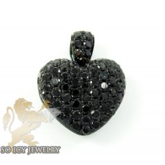 14k Black Gold Black Diamond Heart Pendant 1.10ct