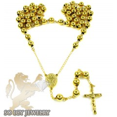 Yellow stainless steel rosary chain necklace 36 inches 8mm