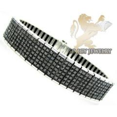White Sterling Silver Black Diamond Tennis Bracelet 17.44ct