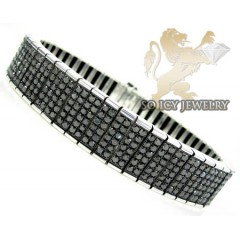 White Sterling Silver Black Diamond Tennis Bracelet 17.44ct