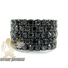 Mens Black Sterling Silve...
