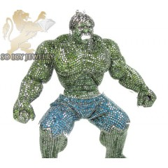 Hulk 10k White Gold Green & Blue Diamond Pendant 28.00ct