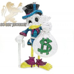 White Sterling Silver Multi Color Swarovski Crystal Scrooge Mcduck  Pendant 57.00ct