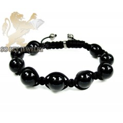 Macramé Black Onyx Smooth Rope Bracelet