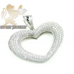 Sterling Silver Cz Fancy Heart Pendant 2.00ct