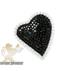 Sterling Silver Black & White Cz Heart Pendant 4.00ct