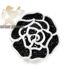 Sterling Silver Black & White Cz Flower Pendant 5.00ct
