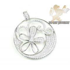 Sterling Silver White Cz Fancy Pendant 3.00ct