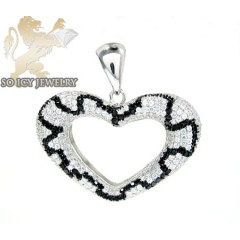 Sterling Silver Black & White Cz Heart Pendant 5.00ct
