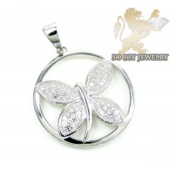 Sterling Silver White Cz Butterfly Pendant 0.50ct