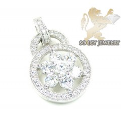 Sterling Silver Cz Flower Pendant 3.00ct