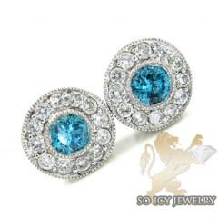 14k Solid White Gold Blue Diamond Cluster Earrings 1.25ct