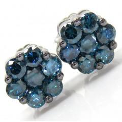 14k Solid White Gold Blue Diamond Cluster Earrings 1.00ct