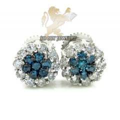 14k Solid White Gold Blue Diamond Cluster Earrings 0.75ct