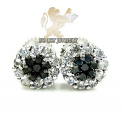 14k Solid White Gold Black Diamond Cluster Earrings 0.75ct